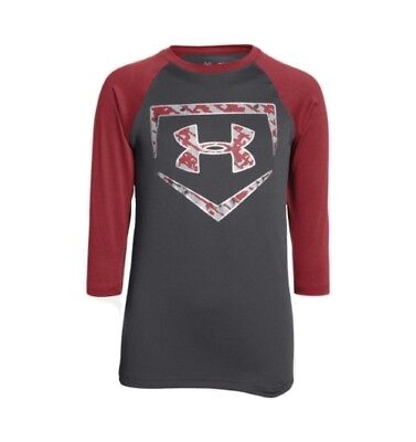 Brand New Under Armour Boy's Graphic T-Shirt Size Medium Gray & Red