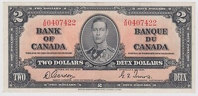1937 Bank Of Canada Two 2 Dollar Bank Note Xb 0407422 Nice Bill