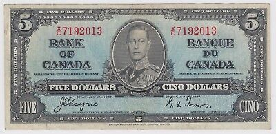 1937 Bank Of Canada Five 5 Dollar Bank Note Xc 7192013 Nice Bill Better Prefix