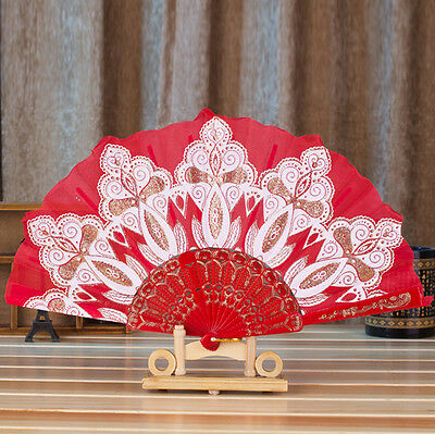 Chinese Style Dance Wedding Party Lace Silk Folding Hand Held Flower Fan Red