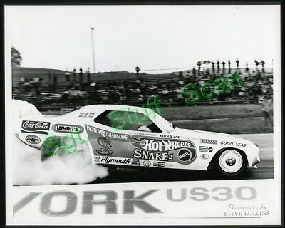 """Vintage drag racing 8"""" x 10"""" glossy photo Don the Snake Prudhomme Cuda Funny Car"""