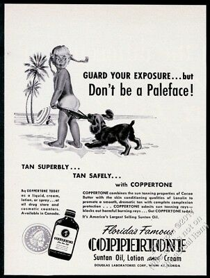 1956 Coppertone suntan lotion classic dog pulling girl's swimsuit art vintage ad