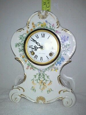 """Franz Hermle, """"Flowers Of The Hour"""" Porcelain Mantle Clock parts or fix"""