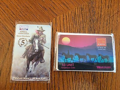 2 x Horeses phone card, Ameritech and WorldLink, 1994 and 1996