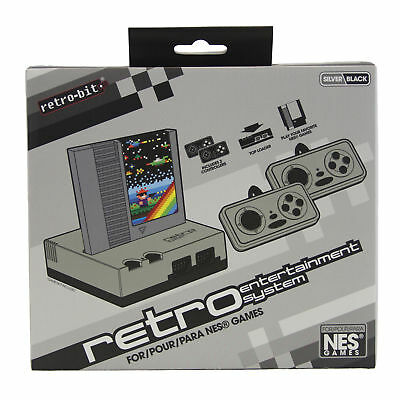 NEW Retro Bit Nintendo NES Entertainment System Silver/Black VIDEO GAME CONSOLE