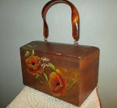 Vtg 70s Mod Painted Floral Wood Box Purse Handmade Poppy Flowers Lucite Handle