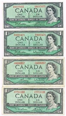 LOT OF FOUR 1954 (1955-74) CANADA ONE DOLLAR NOTES - p75a,b,c,d