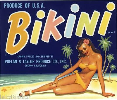 Genuine Crate Label Vintage Bikini Pin Up Hawaii Aloha Waikiki Beach Surfing