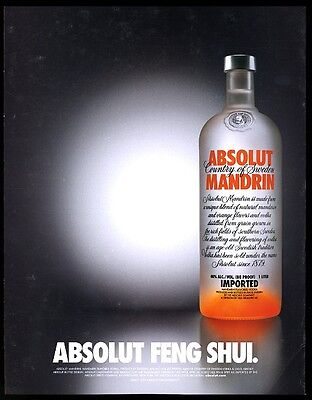 2003 Absolut Feng Shui Mandrin vodka bottle photo vintage print ad