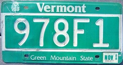 VERMONT VINTAGE  1988 Green Mountain State  license plate  978 F 1