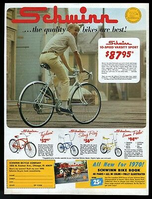1970 Schwinn StingRay Lemon Peeler Varsity Typhoon bike photo print ad