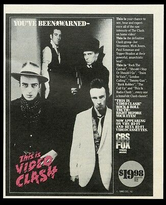 1986 The Clash photo This Is Video Clash vintage print ad