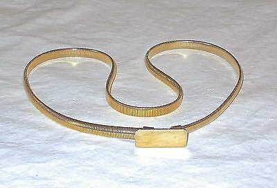 "Vintage Skinny 1/4"" GoldTone Metal Stretch Snake Coil Belt S/M 27 t0 32"" Retro"