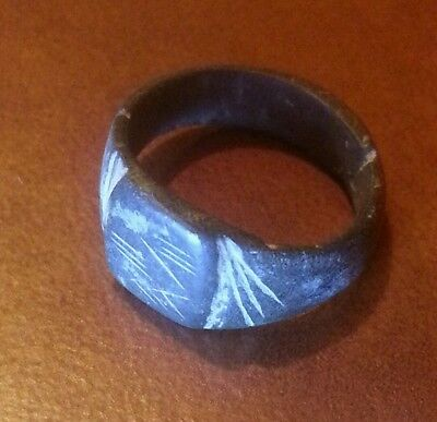 GENUINE ANCIENT ROMAN BRONZE RING SUPER NICE CONDITION PATINA engraved Art