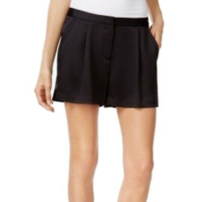 Michael Kors NEW Solid Deep Black Women's Size 2 Pleated Shorts $88 #502