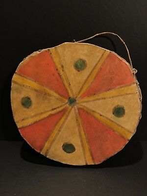 SPECTACULAR EARLY 20th C PLAINS GEOMETRIC & PICTORIAL HIDE, SINEW, WOOD DRUM, NR