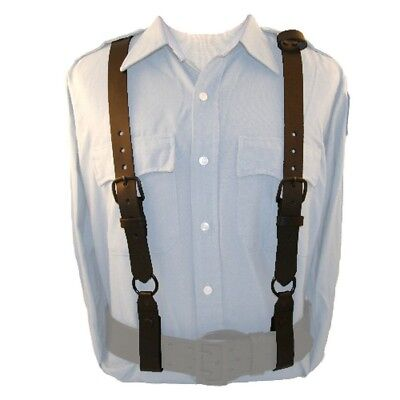 Boston Leather 9180-3 Policeman Leather Suspenders Adjustable Straps Brown