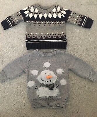 2 Next Baby Boys Christmas Jumpers 3-6 Months