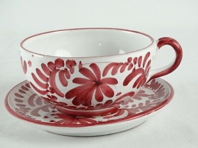 HUGE Hand painted Italian Majolica oversized breakfast tea cup in Magenta Italy
