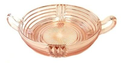 Manhattan Pink Depression Glass Candy Dish Anchor Hocking Handled Nut Vintage
