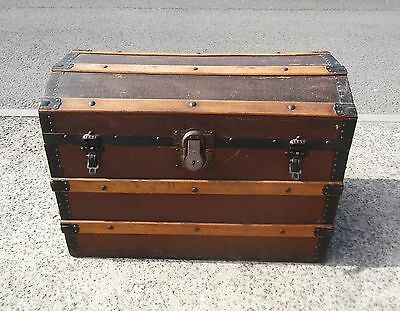 Antique Metal & Wood Bound Dome Top Trunk / Travel Chest    Free Uk Postage