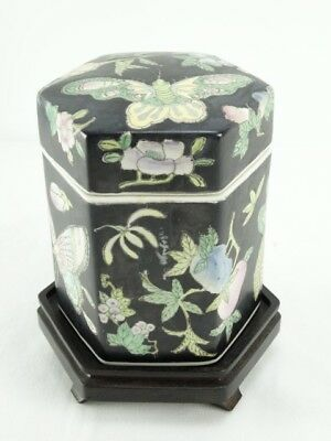Chinese Famille Noire Hexagonal polychrome porcelain Tea Caddy on Stand China
