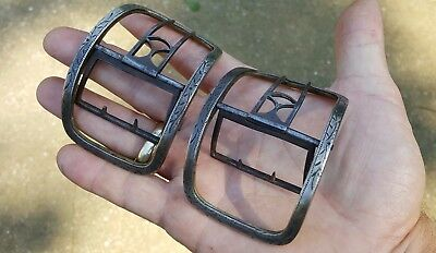 Old 1700s 18th Century Antique Engraved Brass Steel Early American Shoe Buckles