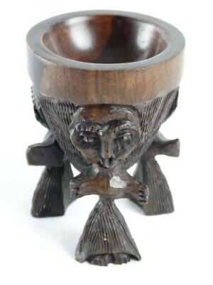 Fine African tripodial hand carved & turned Ebony Wood Figural paint pot Africa