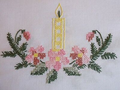 VINTAGE HAND EMBROIDERED WHITE COTTON CHRISTMAS TABLE CLOTH 77 x 77cms