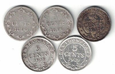 5 X Newfoundland Five Cents Canadian Silver Coins 1890 1896 1917C 1919C 1929