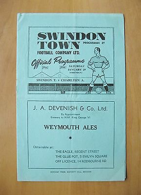 SWINDON TOWN v CHARLTON ATHLETIC Friendly 1948/1949 Exc Cond Football Programme