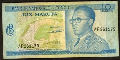 Congo Democratic Republic 10 Makuta 1967 Note !!!!! Vf