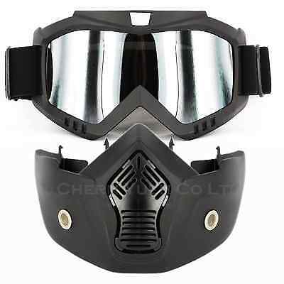 Deluxe Goggles Removable Mouth Guard Mask Tactical Face Guard for Motocross BMX