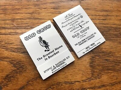 Vintage New Old Stock Old Crow Whiskey Distillery Bandaids Match Matchbook Pair