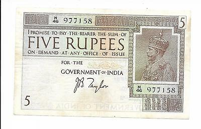 India, Government of India - 5 Rupees, nd (1917-30). Taylor. EF. Rare.