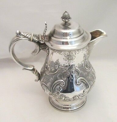 An Ornate Silver Plated & Embossed Beer Jug / Pitcher c1870 - Acorn Finial