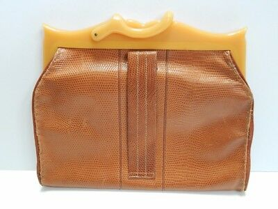 Vintage Calfskin Leather Purse with Bakelite or Lucite Handle Clutch