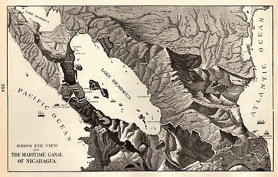 1901 Antique NICARAGUA CANAL Map Vintage Maritime Canal Map Gallery Wall 4111