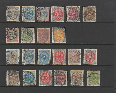 Denmark 1875 - 1903 collection , 22 stamps