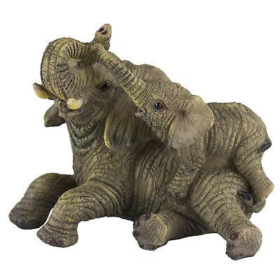 Mother and Baby Elephant Figurine Laying 3.5 Inch Long New!