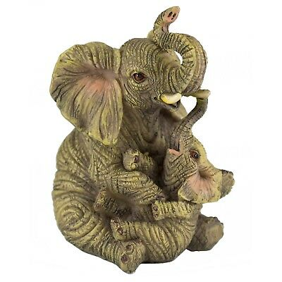 Mother and Baby Elephant Figurine Sitting 3.5 Inch High New!