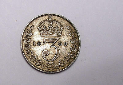 1909 GB 3 Pence SILVER XF VERY TOUGH EDWARD DATE 92.5%/1.41 gr INV#298-5