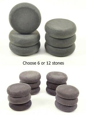 HOT STONE MASSAGE: Set of 6 or 12 Round Basalt Stones, 5 cm diameter x 1.5 cm