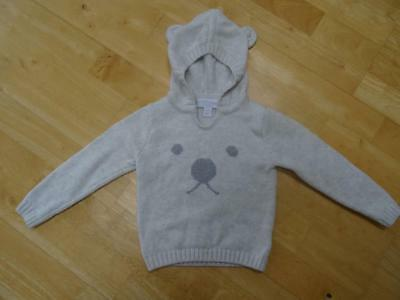 THE LITTLE WHITE COMPANY baby boys light grey bear jumper sweater AGE 9-12 MONTH