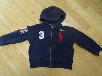 RALPH LAUREN POLO baby boys navy hooded zip thru jumper hoodie AGE 18-24 MONTHS