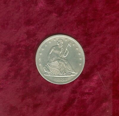 1883 Seated Liberty Half Dollar in AU-Looks to have been cleaned long ago