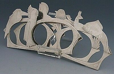 SIX UNUSUAL ANTIQUE SILVER PLATED ART DECO ANIMAL NAPKIN RINGS c1920 FRENCH
