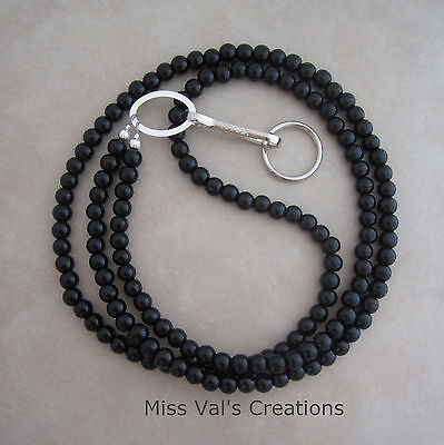 black obsidian stone silver lanyard badge ID holder handcrafted beaded