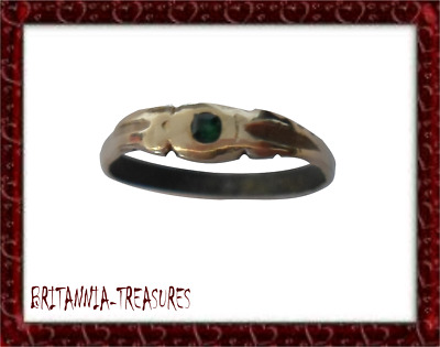 A Beautiful Post Medieval Ae Bronze Ring With Real Square Cut Emerald.