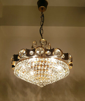 Vintage Brass & Crystals LARGE Chandelier from 1950's